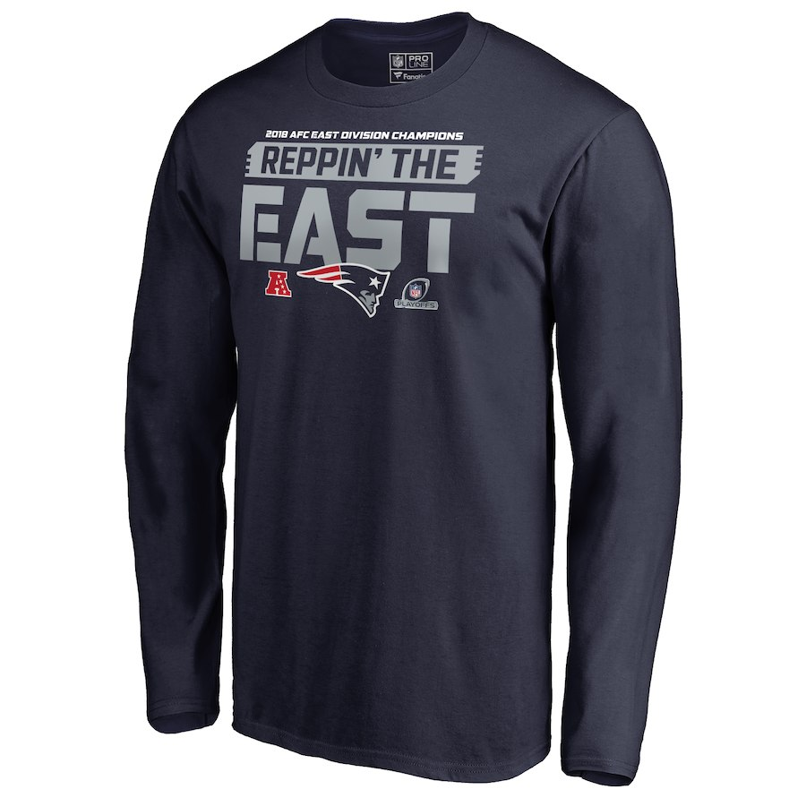 Patriots Navy 2018 NFL Playoffs Reppin' The East Men's Long Sleeve T-Shirt