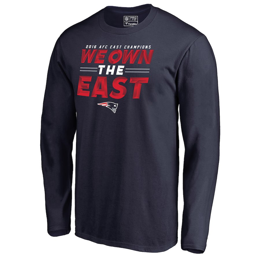 Patriots Navy 2018 NFL Playoffs We Own The East Men's Long Sleeve T-Shirt