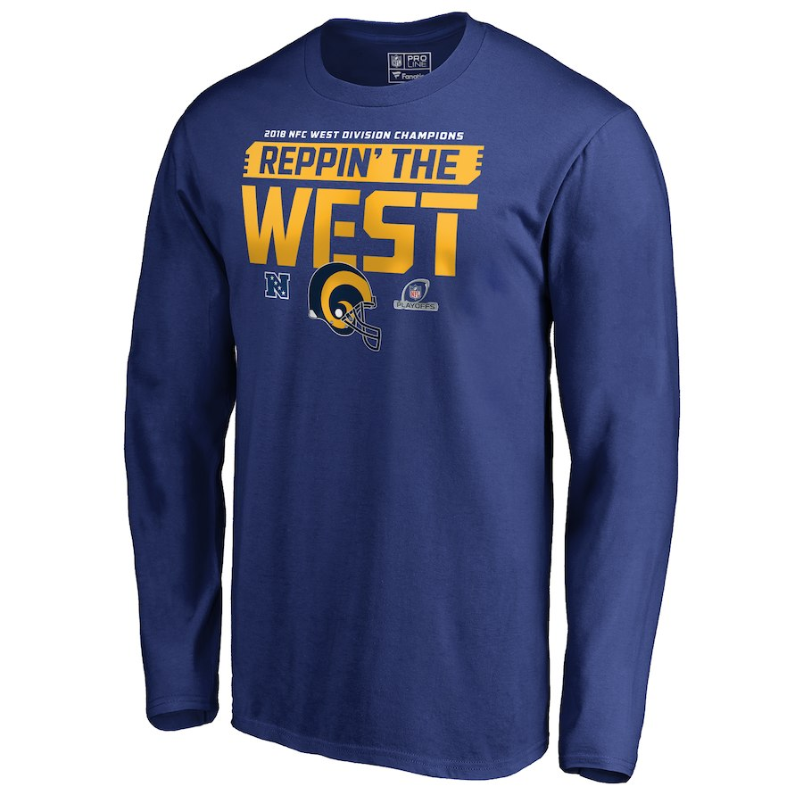 Rams Blue 2018 NFL Playoffs Reppin' The West Men's Long Sleeve T-Shirt