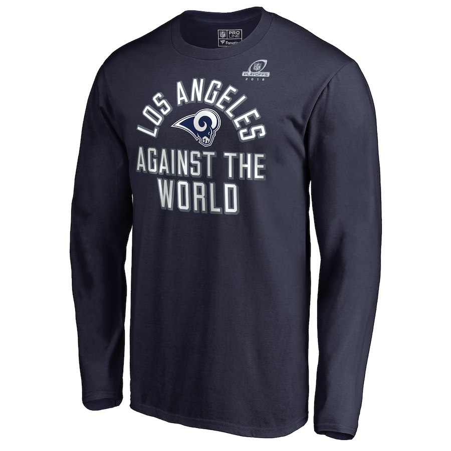 Rams Navy 2018 NFL Playoffs Against The World Men's Long Sleeve T-Shirt