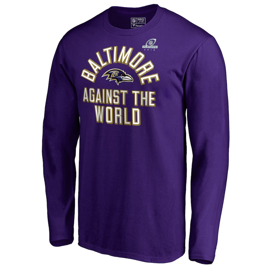 Ravens Purple 2018 NFL Playoffs Against The World Men's Long Sleeve T-Shirt