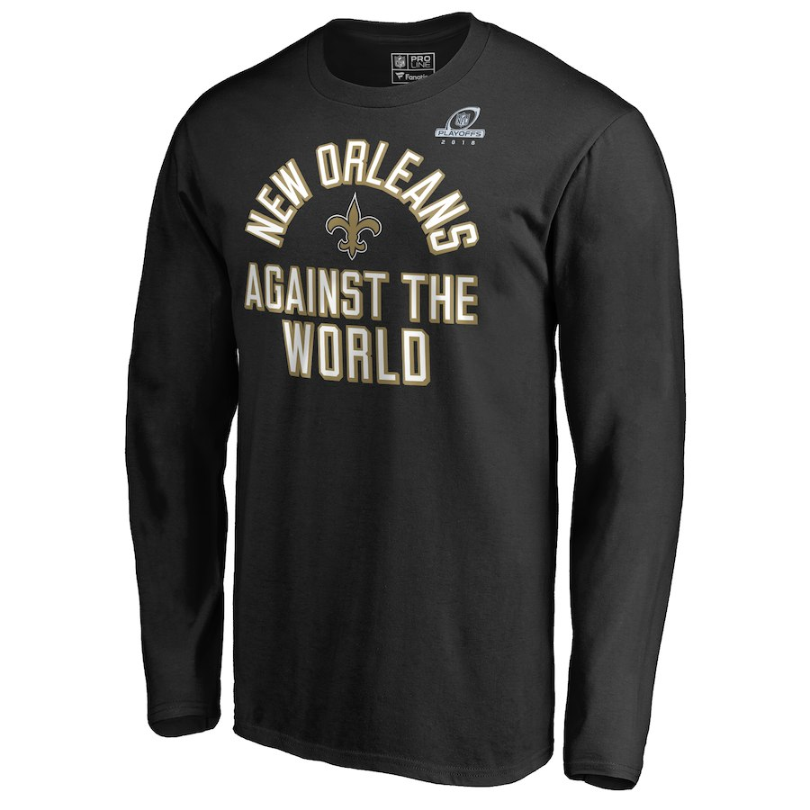 Saints Black 2018 NFL Playoffs Against The World Men's Long Sleeve T-Shirt