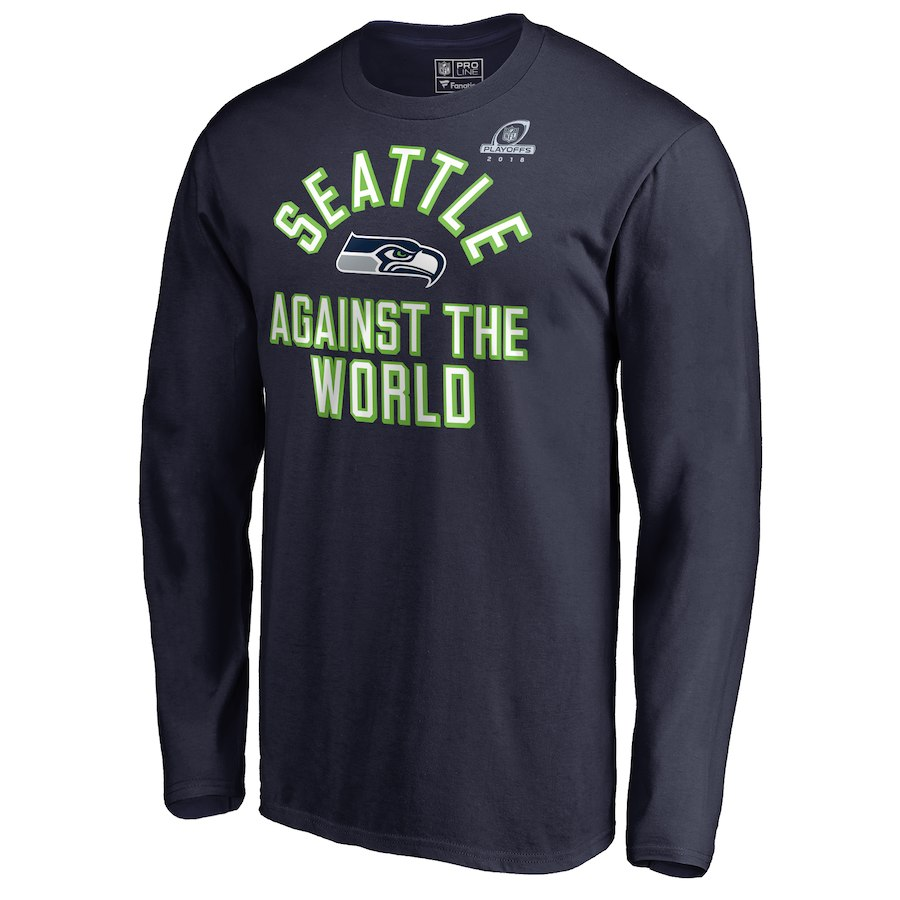 Seahawks Navy 2018 NFL Playoffs Against The World Men's Long Sleeve T-Shirt