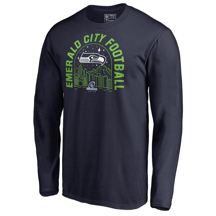 Seahawks Navy 2018 NFL Playoffs Emerald City Football Men's Long Sleeve T-Shirt