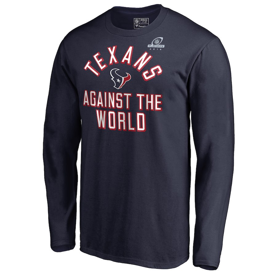 Texans Navy 2018 NFL Playoffs Against The World Men's Long Sleeve T-Shirt