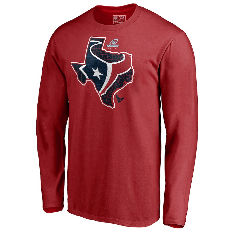 Texans Red 2018 NFL Playoffs Men's Long Sleeve T-Shirt