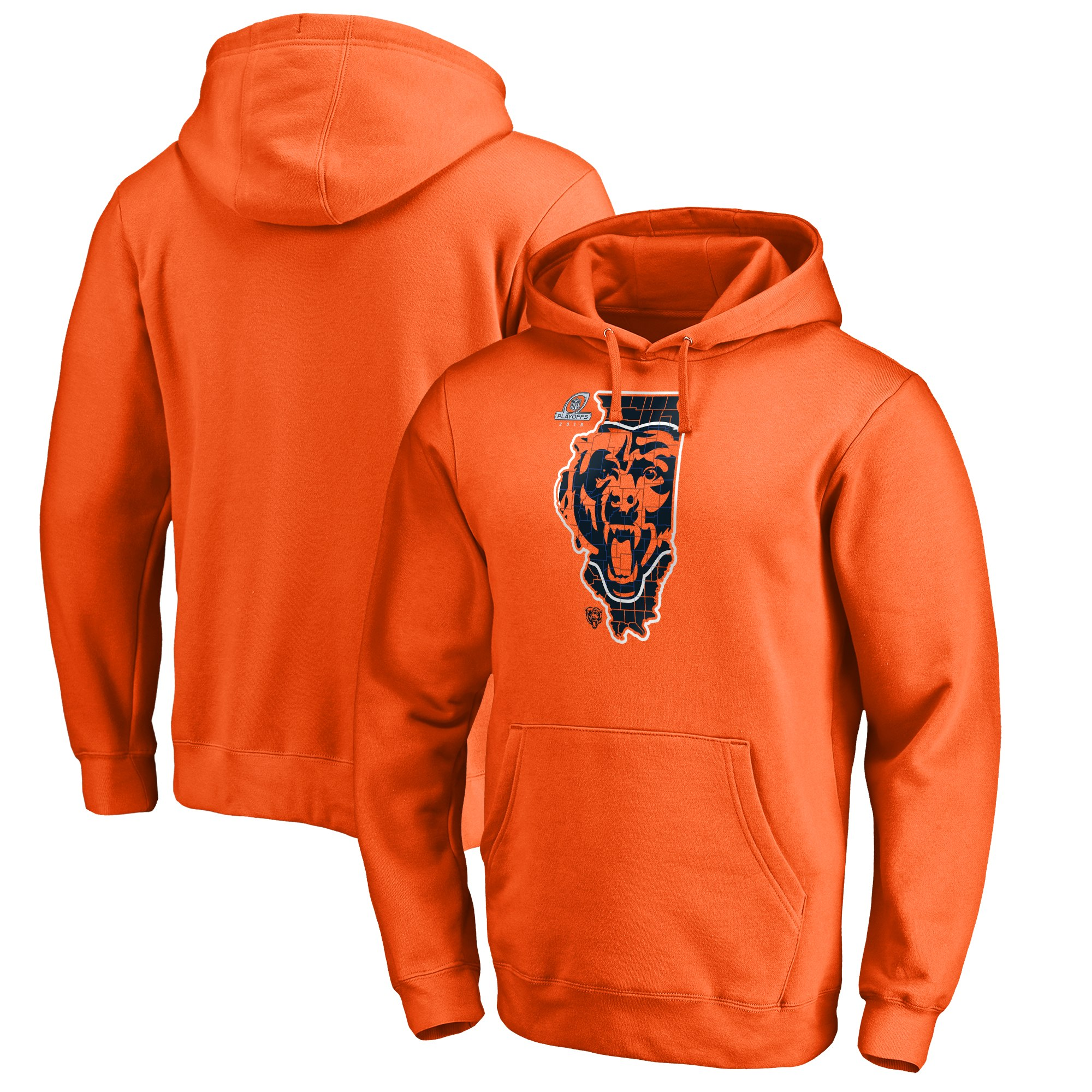 Bears Orange 2018 NFL Playoffs Men's Pullover Hoodie