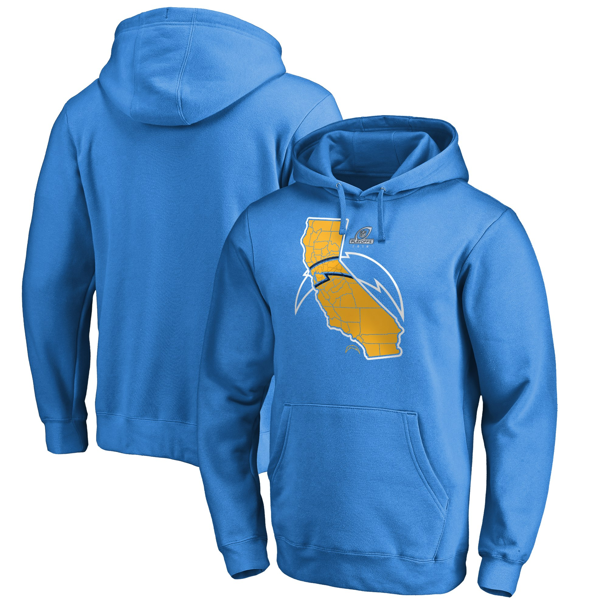 Chargers Light Blue 2018 NFL Playoffs Men's Pullover Hoodie