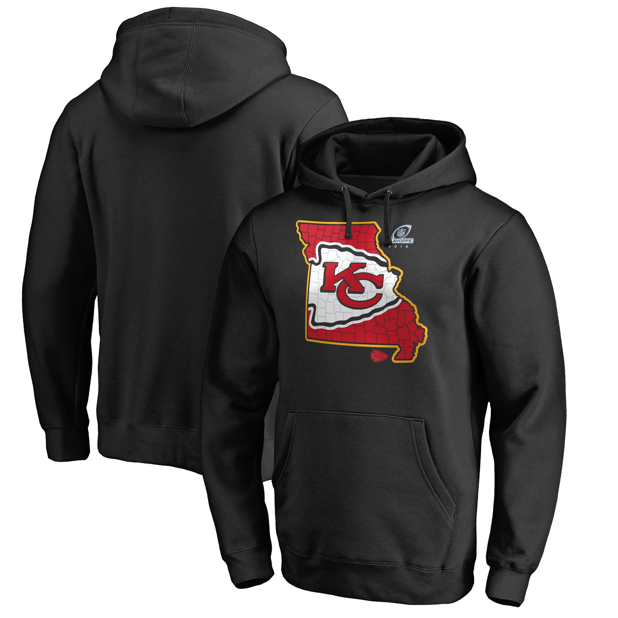 Chiefs Black 2018 NFL Playoffs Men's Pullover Hoodie
