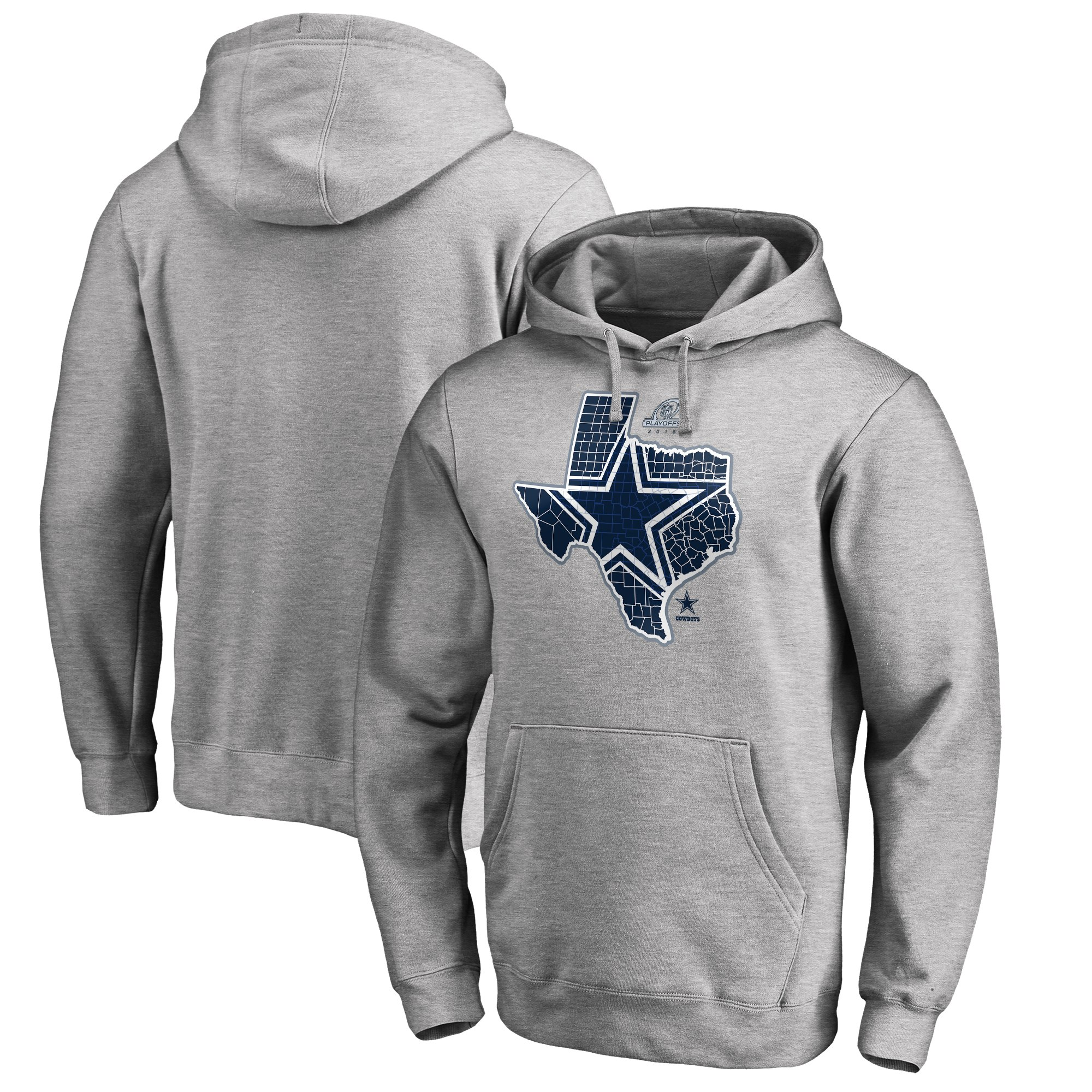 Cowboys Gray 2018 NFL Playoffs Men's Pullover Hoodie