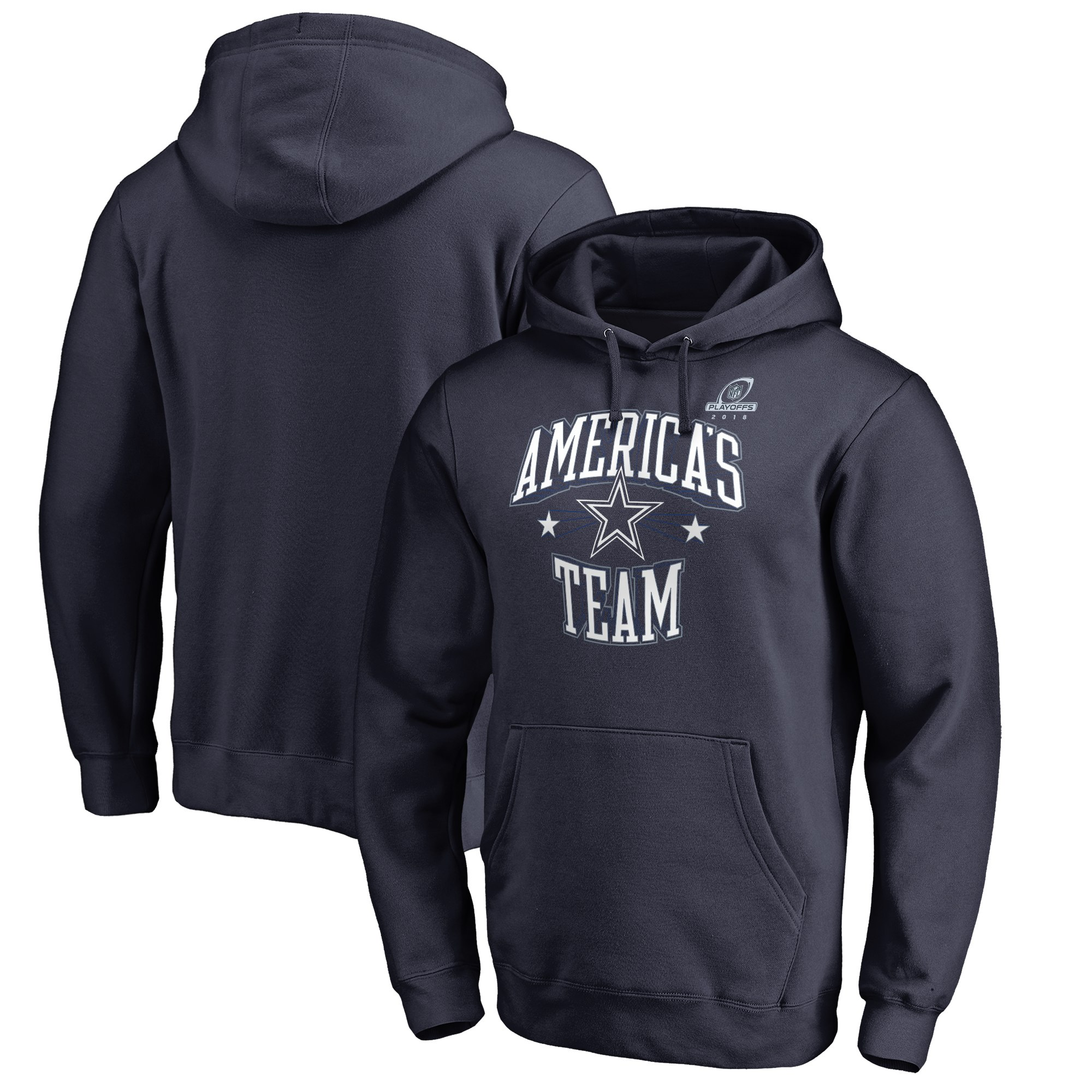 Cowboys Navy 2018 NFL Playoffs America's Team Men's Pullover Hoodie