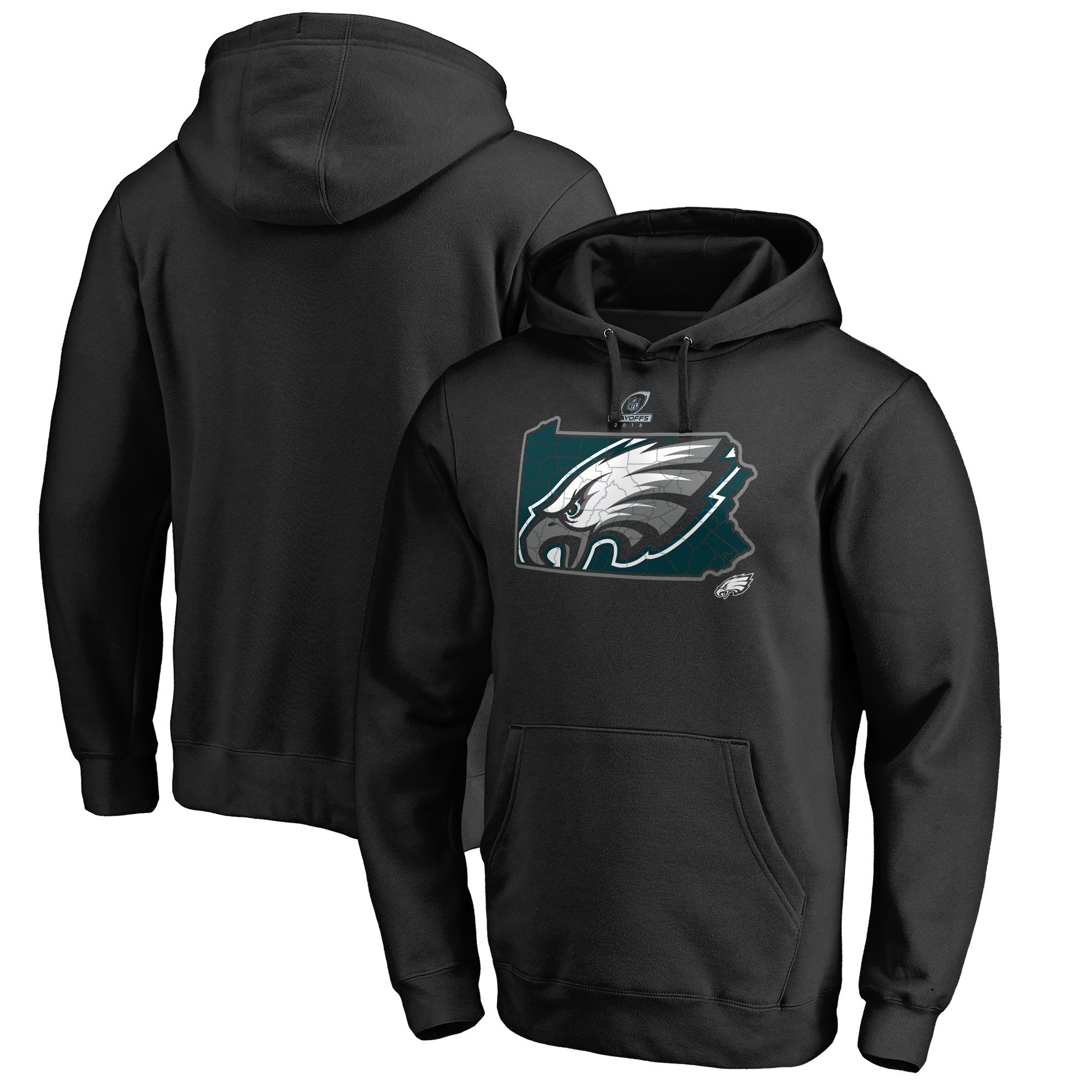 Eagles Black 2018 NFL Playoffs Men's Pullover Hoodie