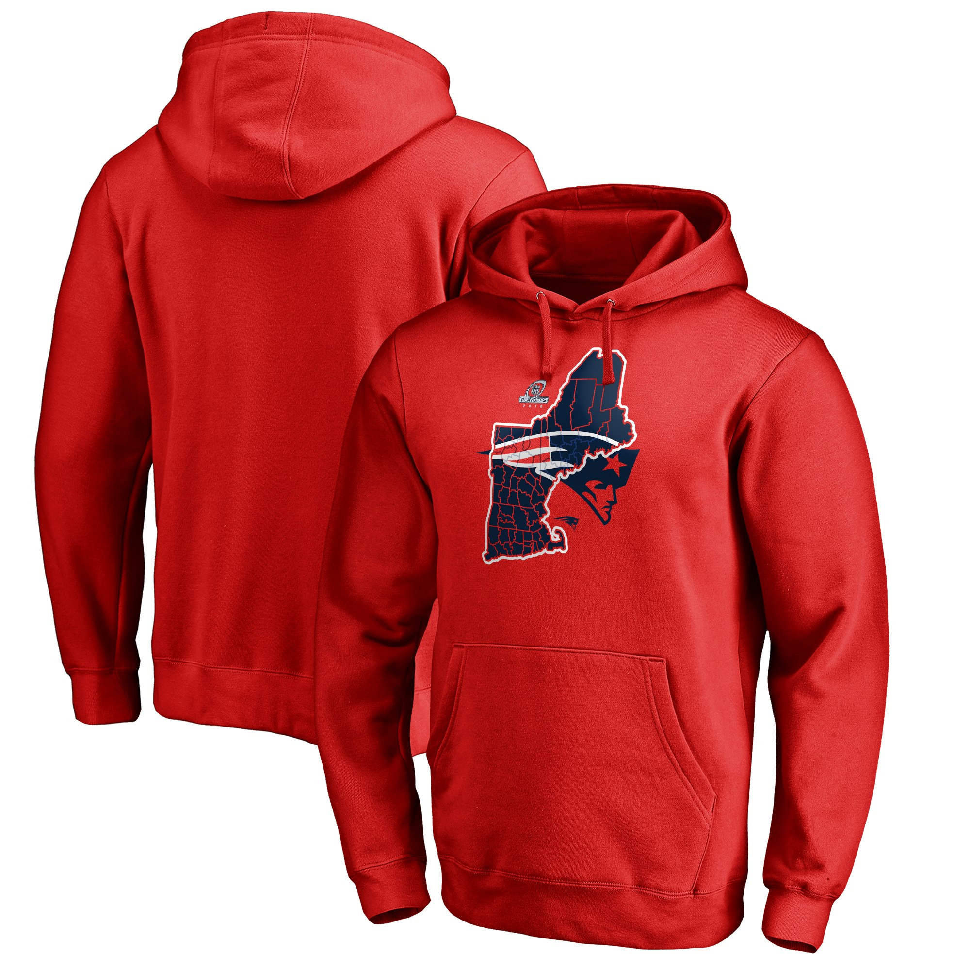 Patriots Red 2018 NFL Playoffs Men's Pullover Hoodie