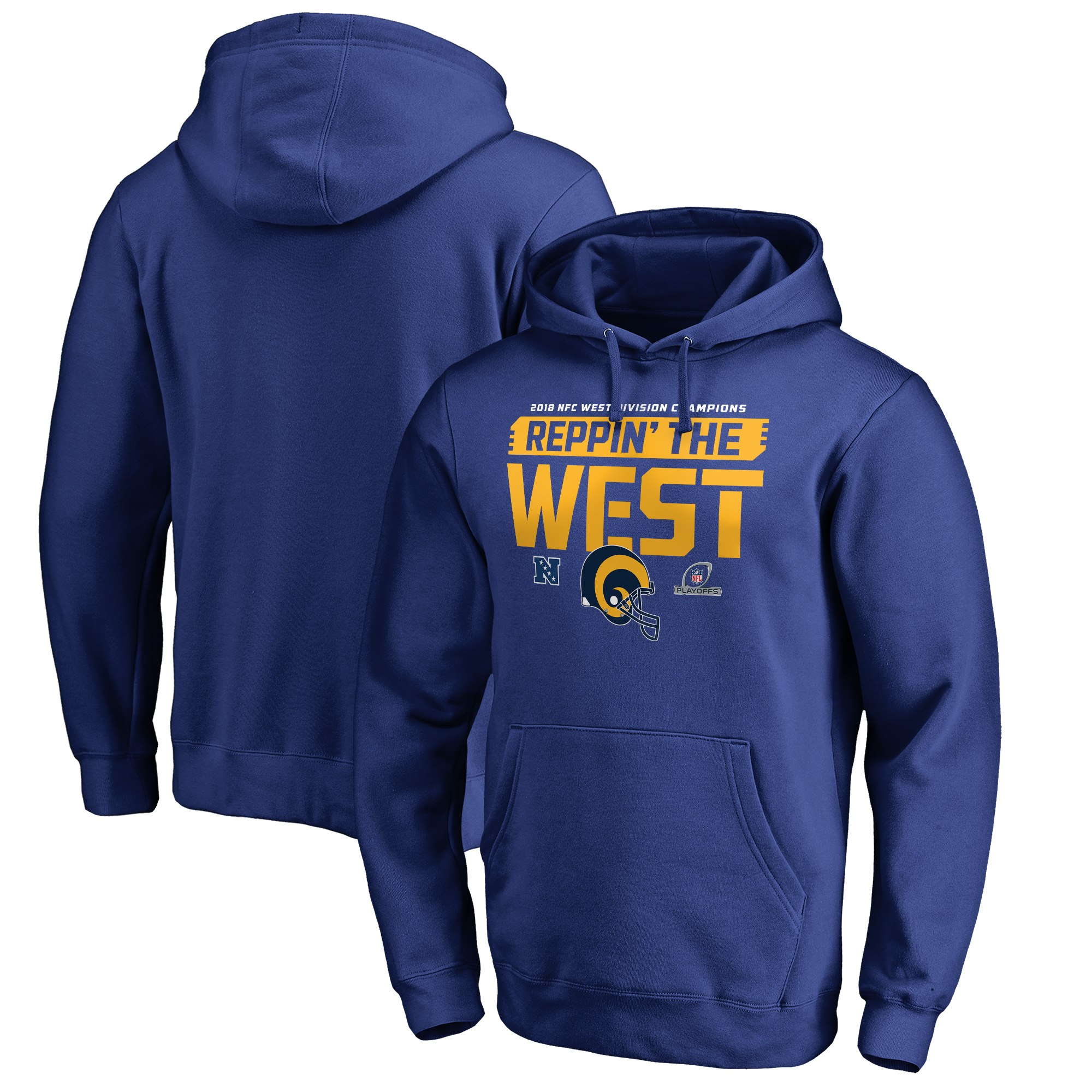 Rams Blue 2018 NFL Playoffs Reppin' The West Men's Pullover Hoodie