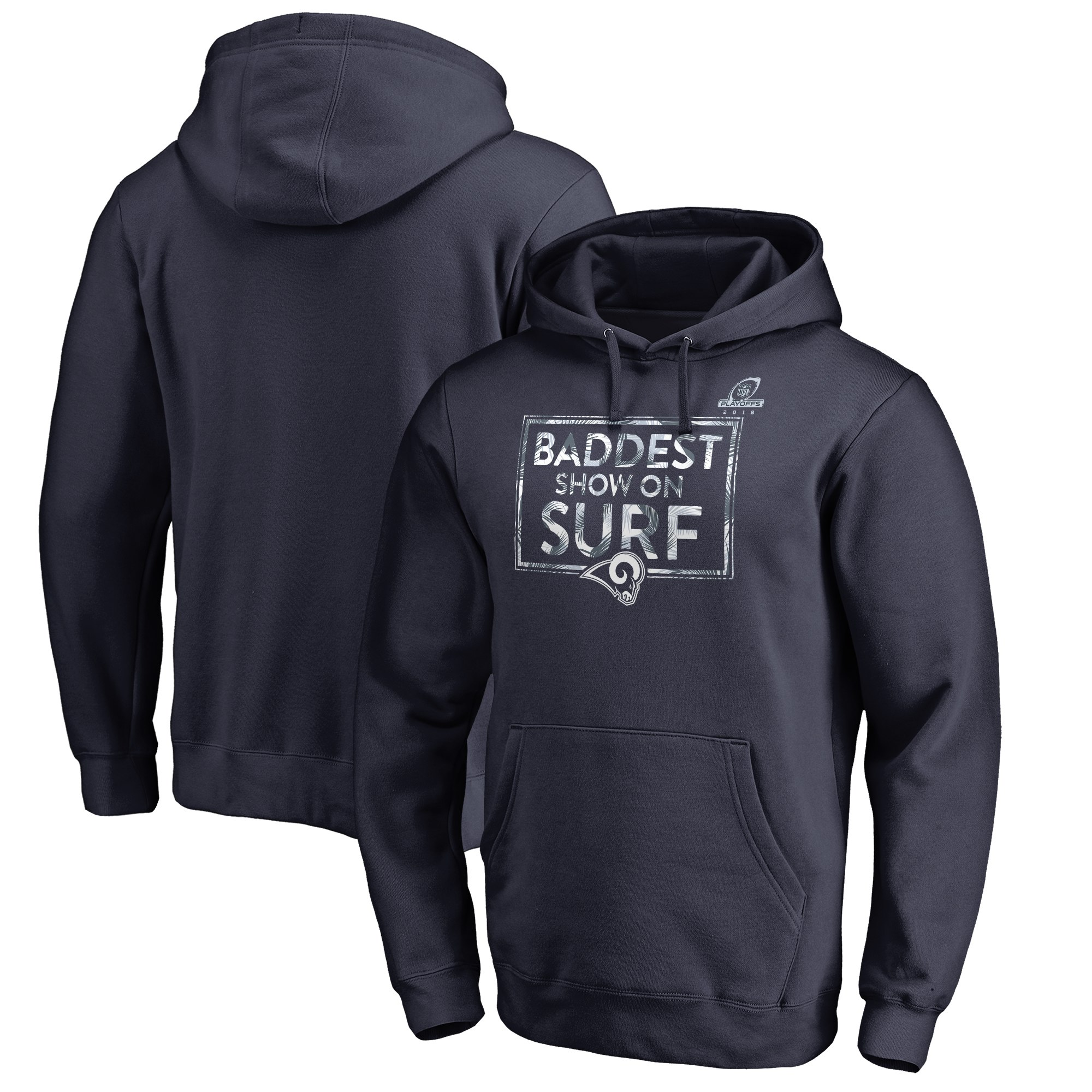 Rams Navy 2018 NFL Playoffs Baddest Show On Surf Men's Pullover Hoodie