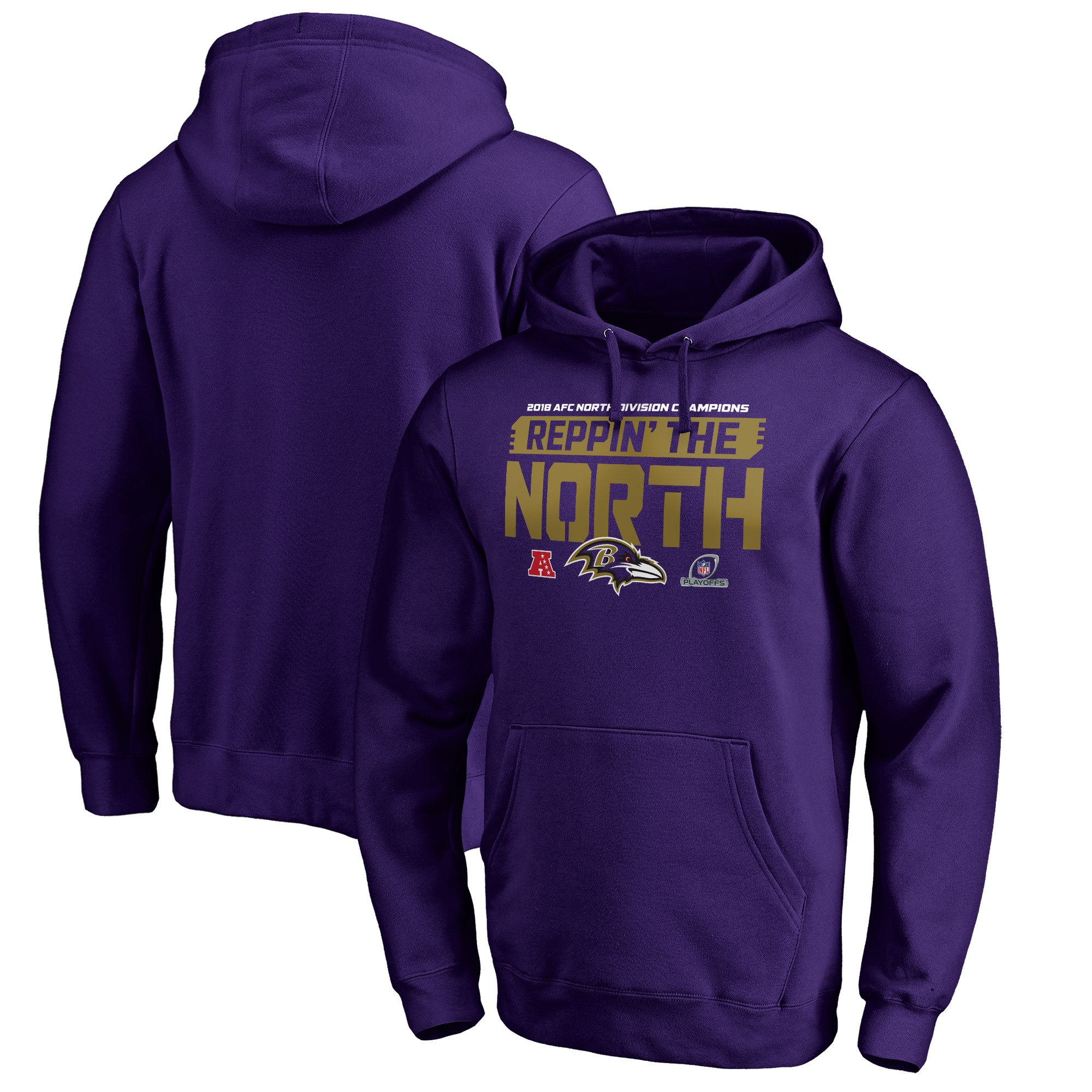 Ravens Purple 2018 NFL Playoffs Men's Pullover Hoodie