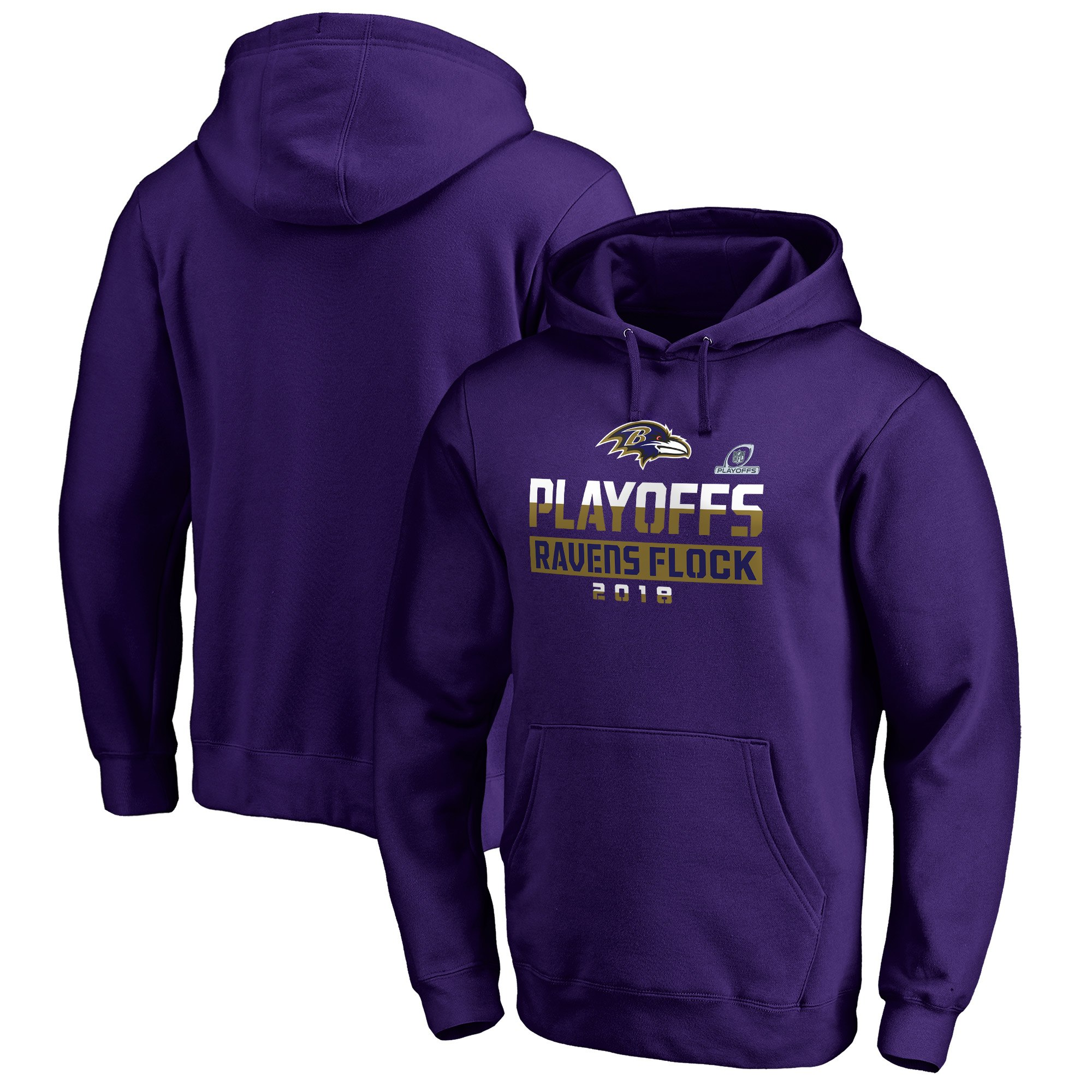 Ravens Purple 2018 NFL Playoffs Ravens Flock Men's Pullover Hoodie