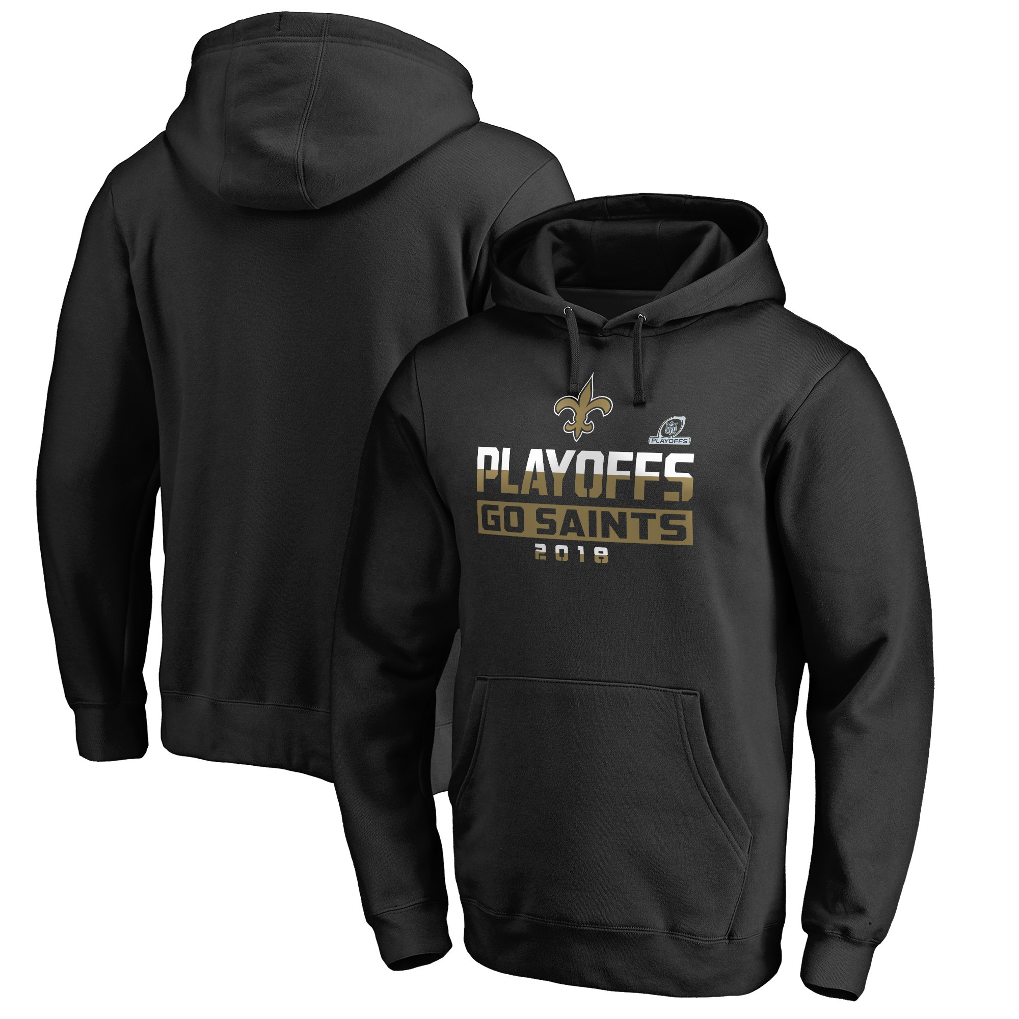 Saints Black 2018 NFL Playoffs Men's Pullover Hoodie