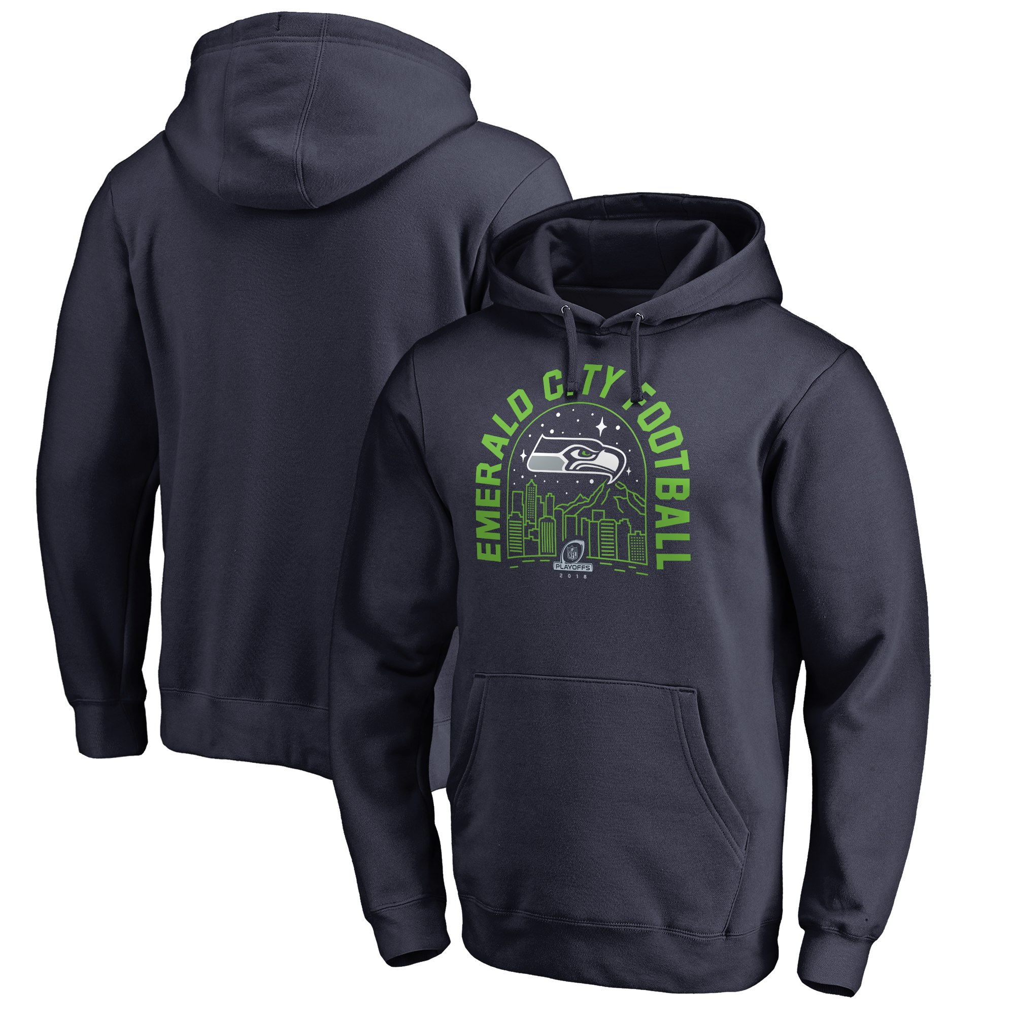 Seahawks 2018 NFL Playoffs Emerald City Football Men's Pullover Hoodie