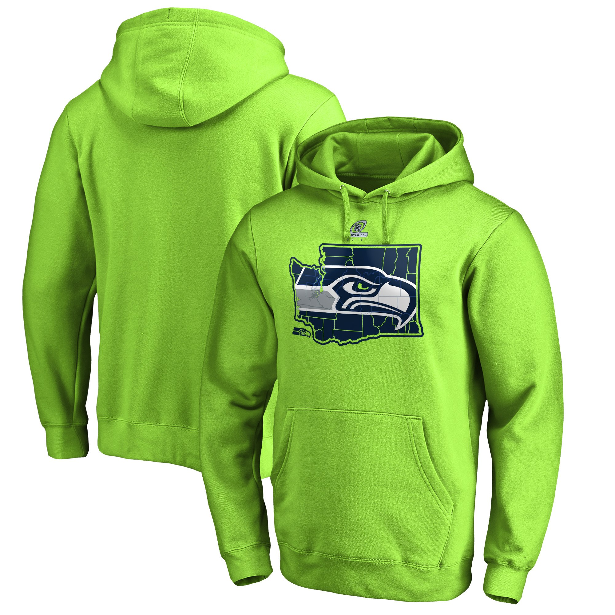 Seahawks Green 2018 NFL Playoffs Men's Pullover Hoodie