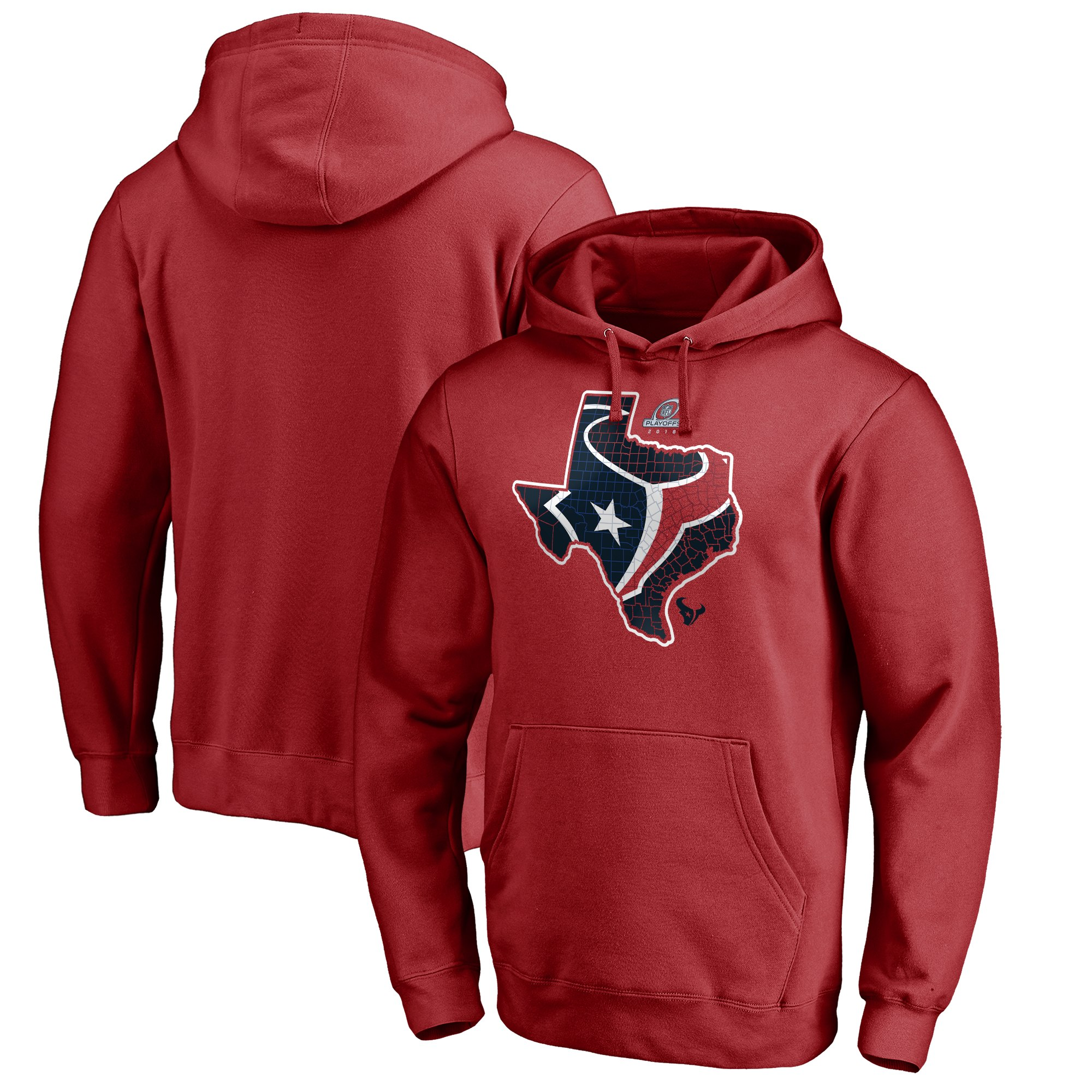 Texans Red 2018 NFL Playoffs Men's Pullover Hoodie