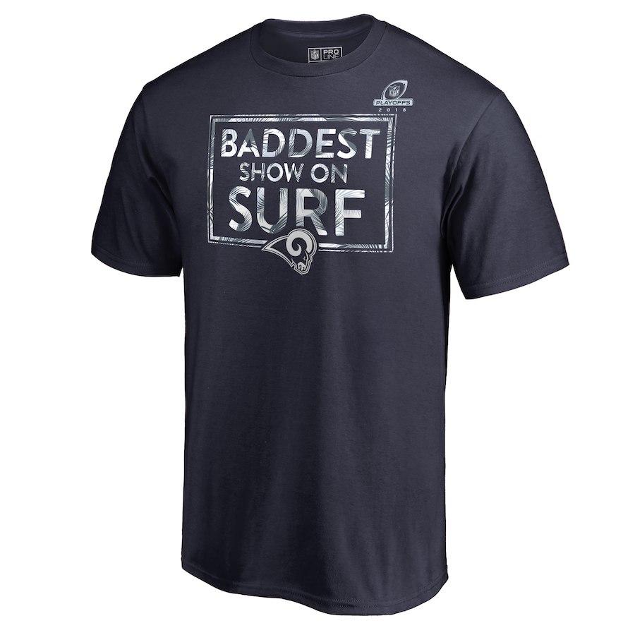 Rams Navy 2018 NFL Playoffs Baddest Show On Surf Men's T-Shirt