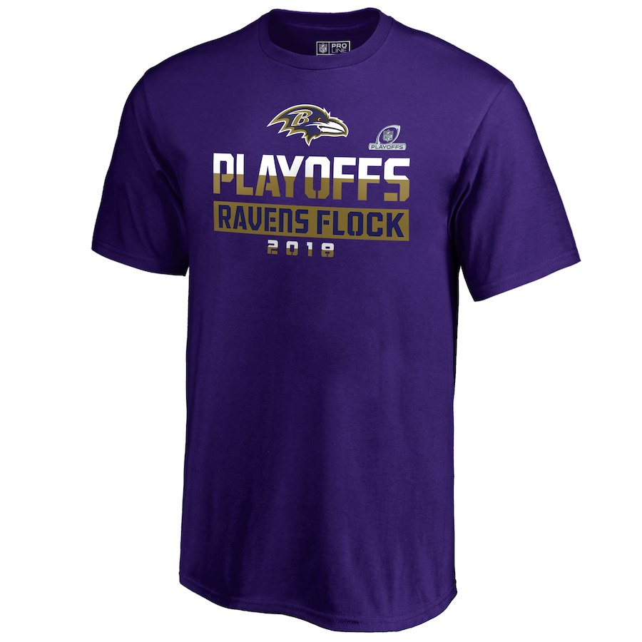 Ravens Purple 2018 NFL Playoffs Ravens Flock Men's T-Shirt