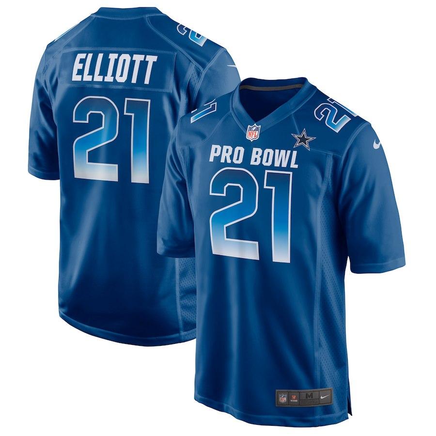 Nike NFC Cowboys 21 Ezekiel Elliott Royal 2019 Pro Bowl Game Jersey
