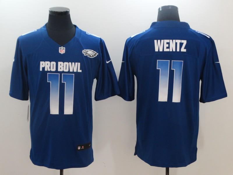 Nike NFC Eagles 11 Carson Wentz Royal 2019 Pro Bowl Game Jersey
