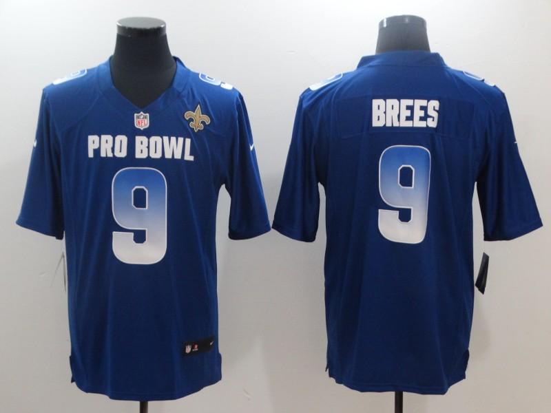 Nike NFC Saints 9 Drew Brees Royal 2019 Pro Bowl Game Jersey