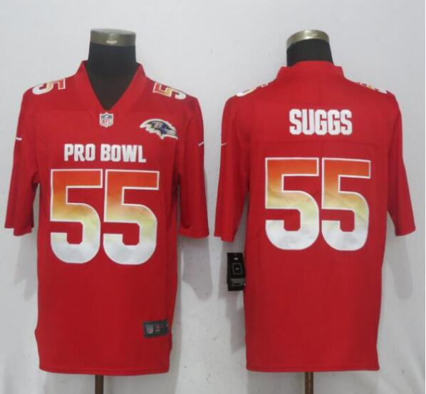 Nike AFC Ravens 55 Terrell Suggs Red 2019 Pro Bowl Limited Jersey