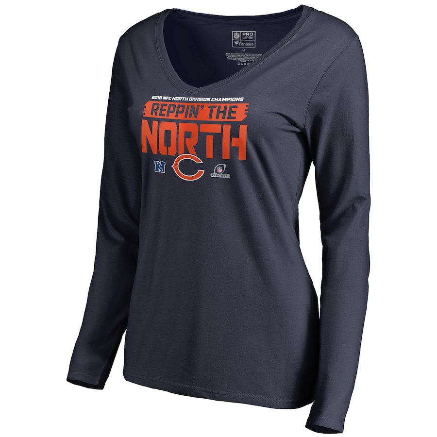 Bears Navy Women's Long Sleeve 2018 NFL Playoffs Reppin' The North T-Shirt