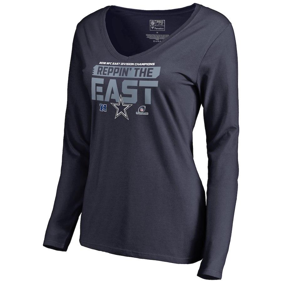Cowboys Navy Women's Long Sleeve 2018 NFL Playoffs Reppin' The East T-Shirt