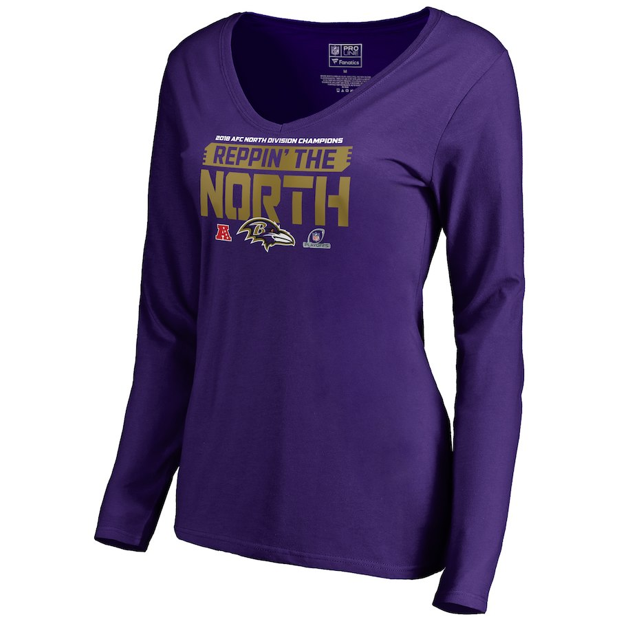 Ravens Purple Women's Long Sleeve 2018 NFL Playoffs Reppin' The North T-Shirt