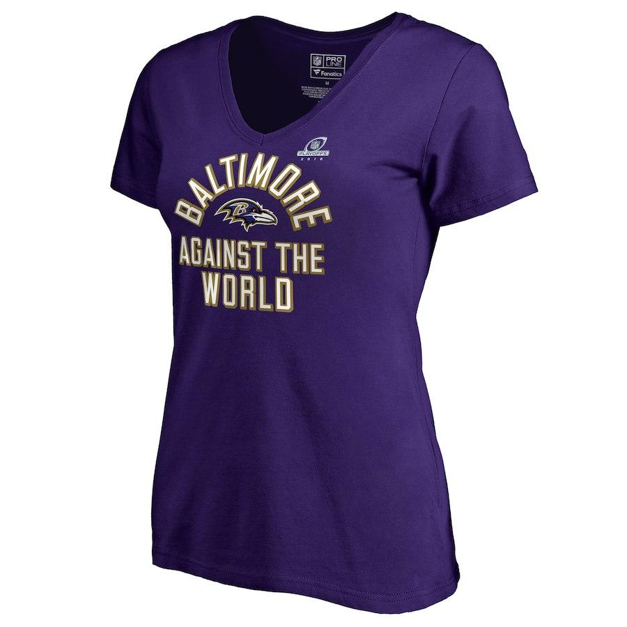 Ravens Purple Women's 2018 NFL Playoffs Against The World T-Shirt