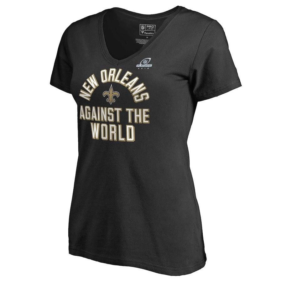 Saints Black Women's 2018 NFL Playoffs Against The World T-Shirt