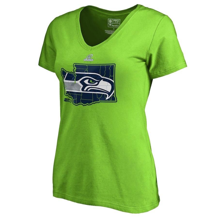 Seahawks Green Women's 2018 NFL Playoffs T-Shirt