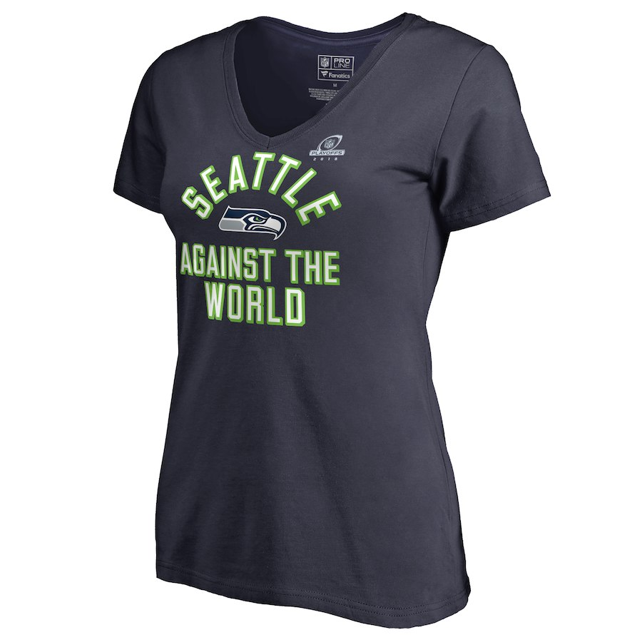 Seahawks Navy Women's 2018 NFL Playoffs Against The World T-Shirt