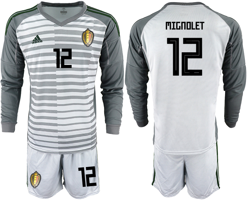 Belgium 12 MIGNOLET Gray 2018 FIFA World Cup Long Sleeve Goalkeeper Soccer Jersey