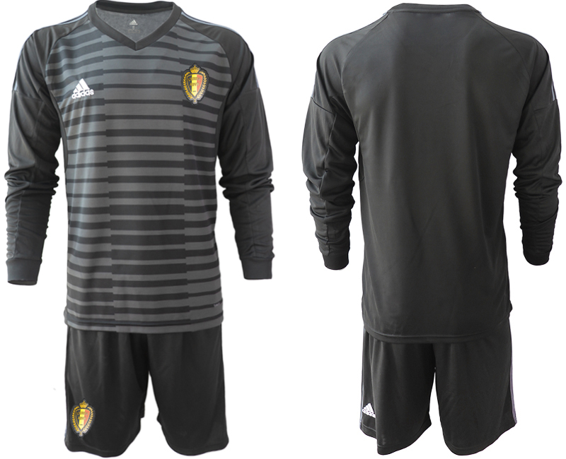 Belgium Black 2018 FIFA World Cup Long Sleeve Goalkeeper Soccer Jersey