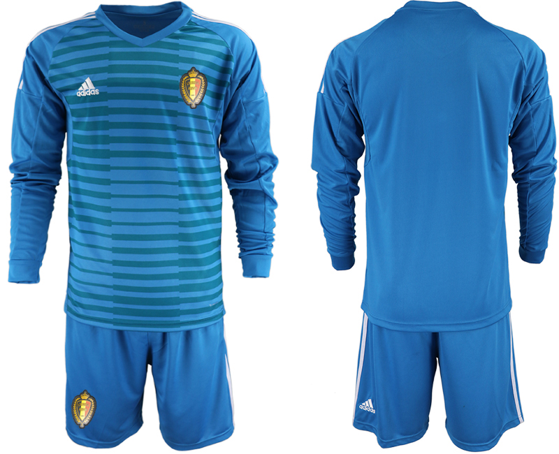 Belgium Blue 2018 FIFA World Cup Long Sleeve Goalkeeper Soccer Jersey