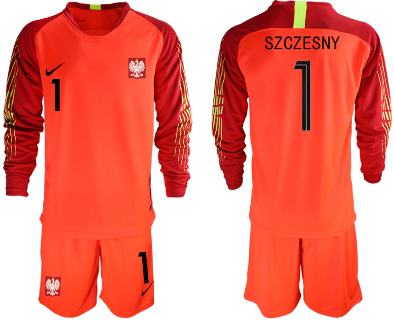 Poland 1 SZCZESNY Red 2018 FIFA World Cup Long Sleeve Goalkeeper Soccer Jersey