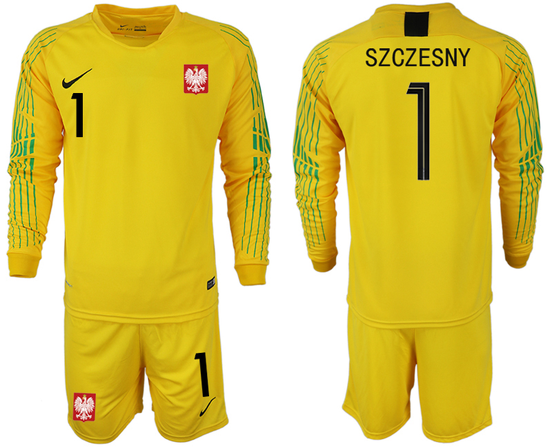 Poland 1 SZCZESNY Yellow 2018 FIFA World Cup Long Sleeve Goalkeeper Soccer Jersey