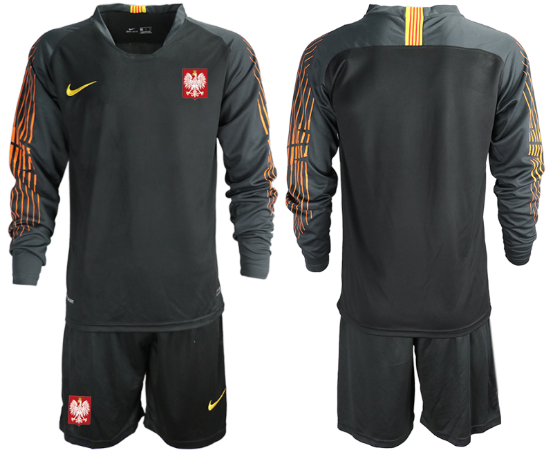 Poland Black 2018 FIFA World Cup Long Sleeve Goalkeeper Soccer Jersey