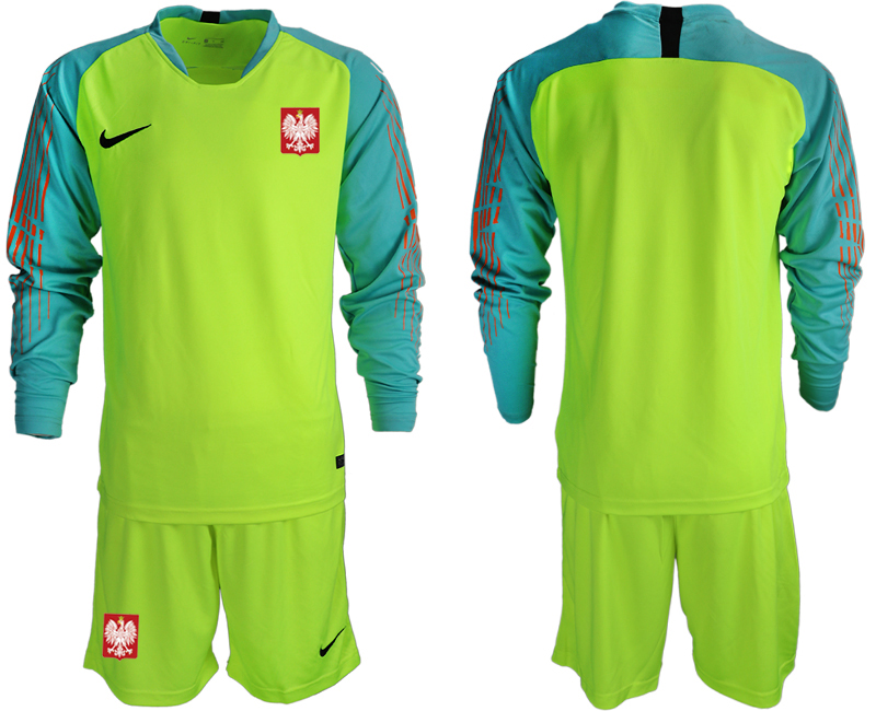 Poland Fluorescent Green 2018 FIFA World Cup Long Sleeve Goalkeeper Soccer Jersey