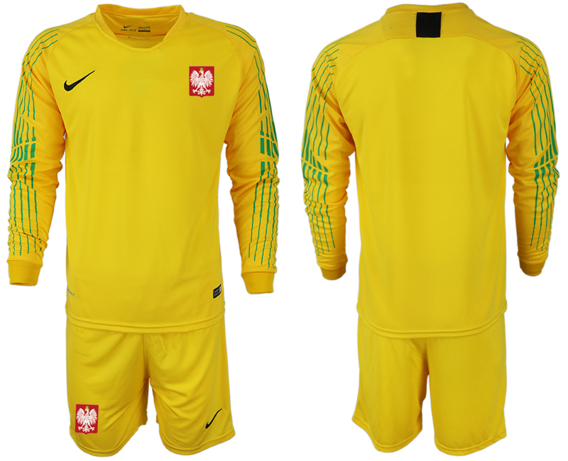 Poland Yellow 2018 FIFA World Cup Long Sleeve Goalkeeper Soccer Jersey