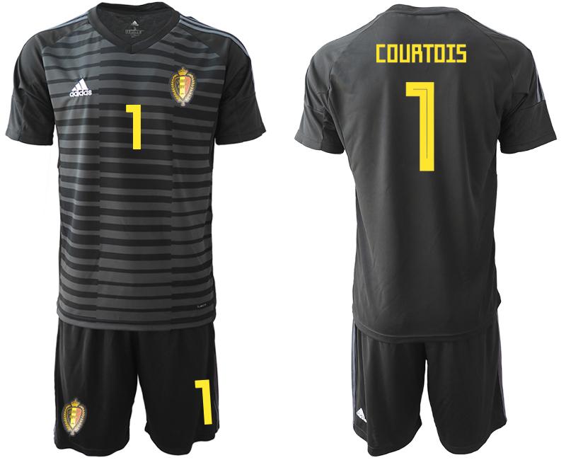 Belgium 1 COURTOIS Black 2018 FIFA World Cup Goalkeeper Soccer Jersey