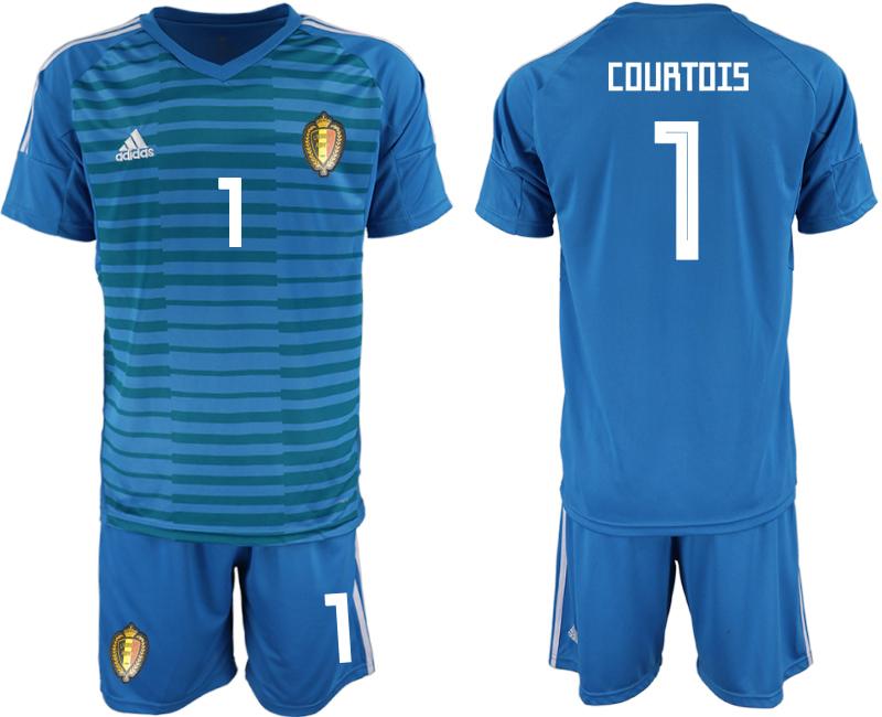 Belgium 1 COURTOIS Blue 2018 FIFA World Cup Goalkeeper Soccer Jersey