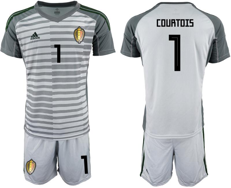 Belgium 1 COURTOIS Gray 2018 FIFA World Cup Goalkeeper Soccer Jersey