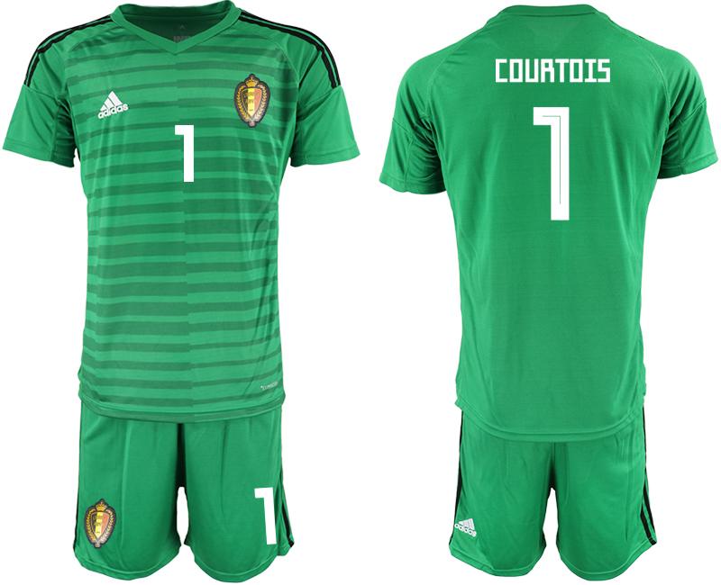 Belgium 1 COURTOIS Green 2018 FIFA World Cup Goalkeeper Soccer Jersey